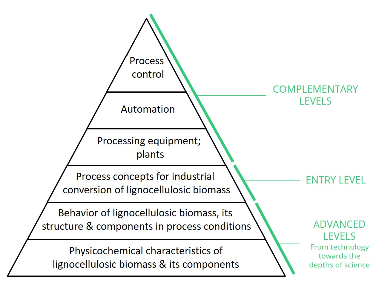 Layers of knowledge to build in-depth understanding of biomass conversion technologies. Modified from original picture by SciTech-Service Oy.